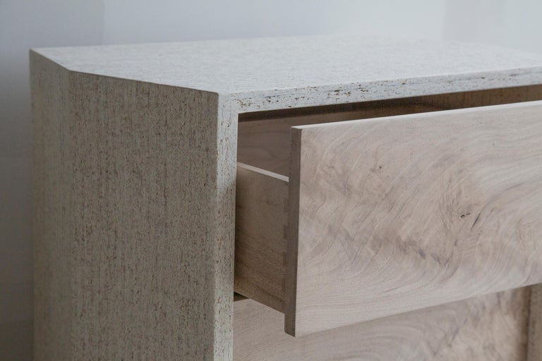 Modern Struttura Mini Case Table in Natural Maykume & Bleached Walnut by May Furniture For Sale