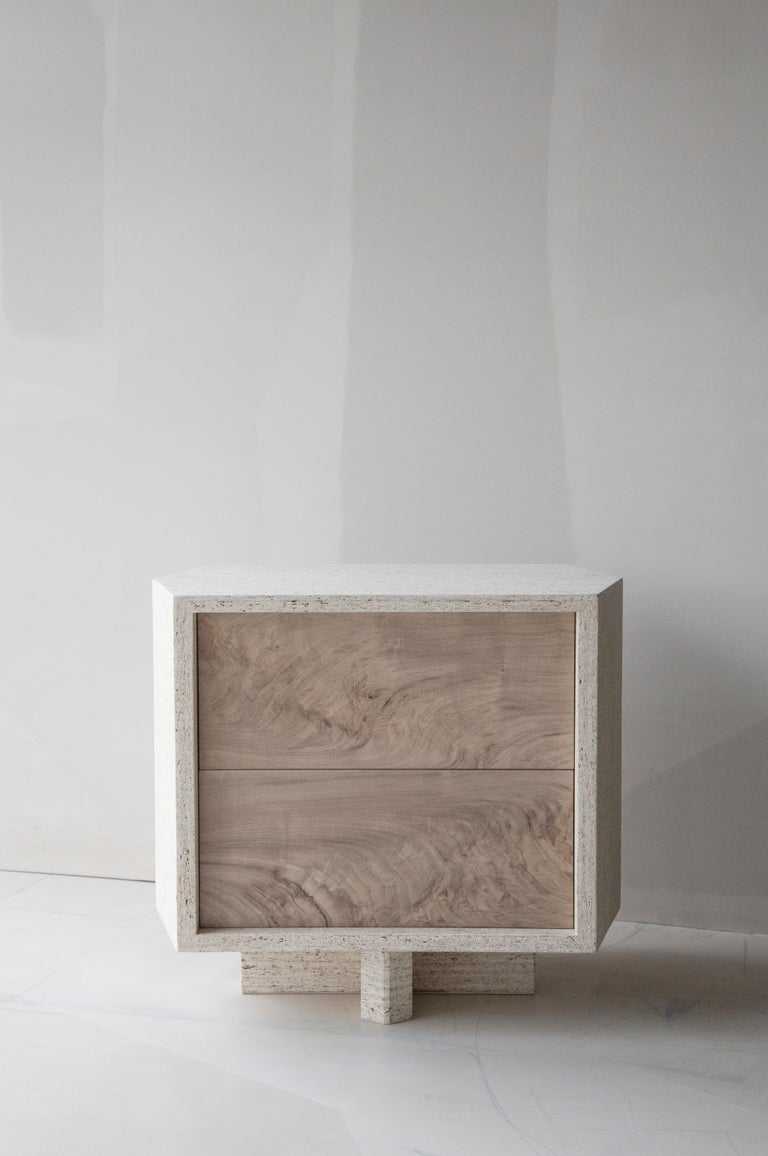 Woodwork Struttura Mini Case Table in Natural Maykume & Bleached Walnut by May Furniture For Sale