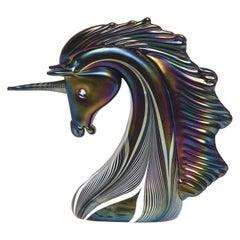 Stuart Abelman Art Glass Unicorn Iridescent