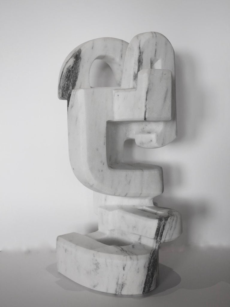 Untitled (Vermont white marble abstract geometric stone sculpture) For Sale 1