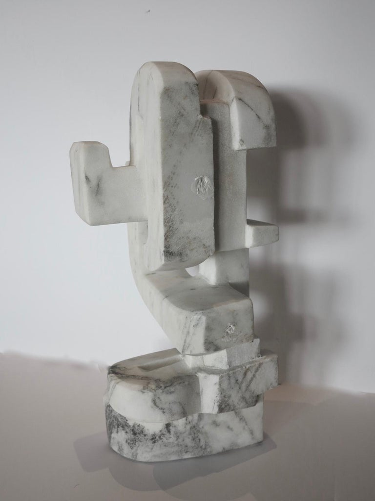 Untitled (Vermont white marble abstract geometric stone sculpture) For Sale 2