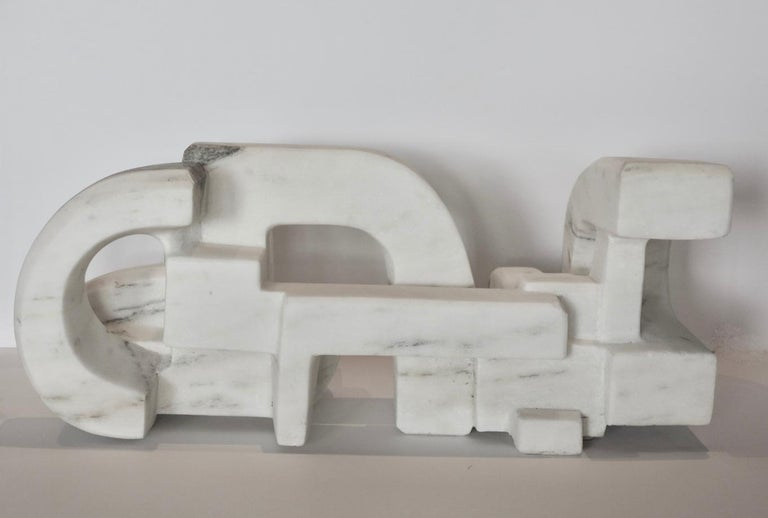 Untitled (Vermont white marble abstract geometric stone sculpture) For Sale 3