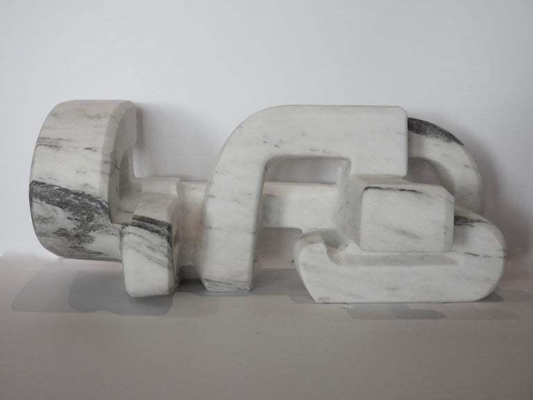 Untitled (Vermont white marble abstract geometric stone sculpture) For Sale 4