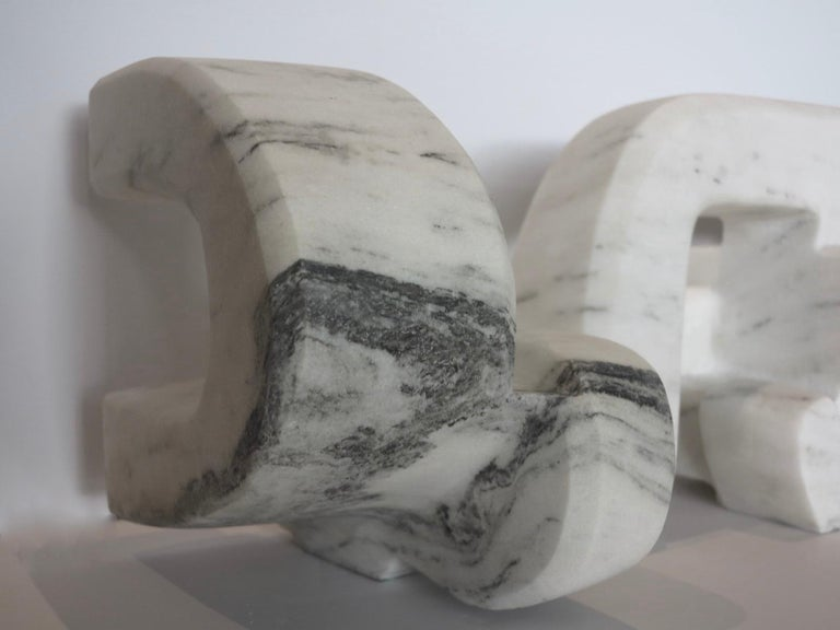 Untitled (Vermont white marble abstract geometric stone sculpture) For Sale 5
