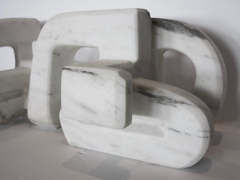 Untitled (Vermont white marble abstract geometric stone sculpture) For Sale 6