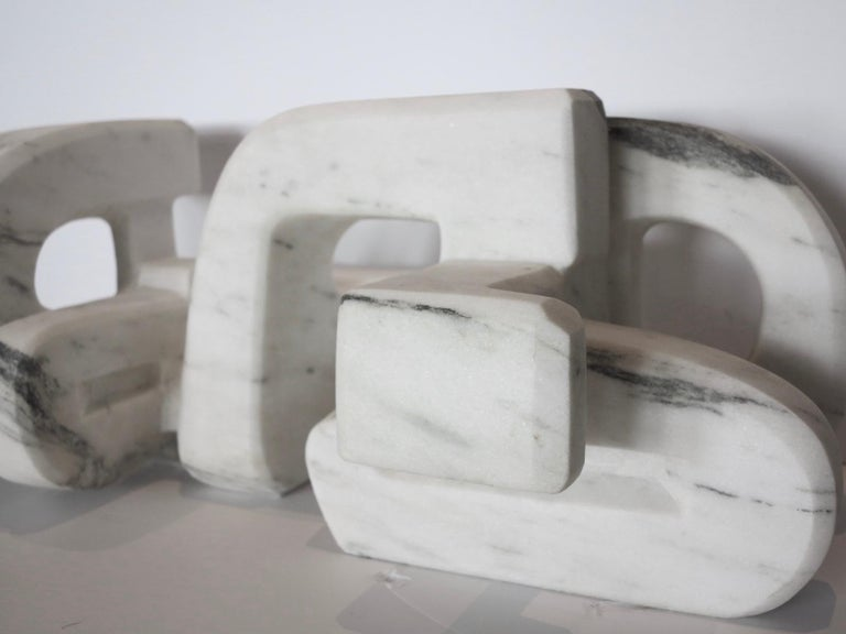 Untitled (Vermont white marble abstract geometric stone sculpture) For Sale 7