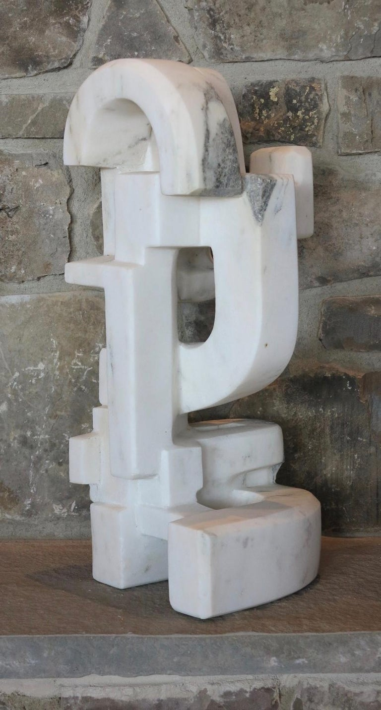 Untitled (Vermont white marble abstract geometric stone sculpture) For Sale 8