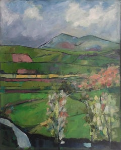 Spring over Ffrwdwen brook, a mixed media landscape painting