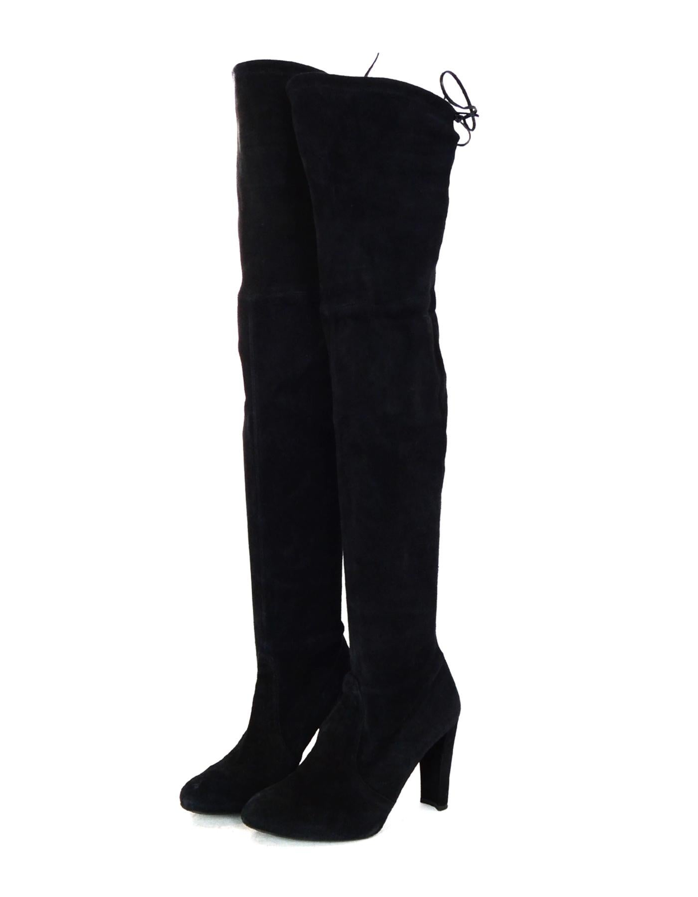2e3cdc350bb Stuart Weitzman Black HiLine Suede Thigh High Boots Sz 9 For Sale at 1stdibs
