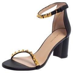Stuart Weitzman Black Leather Embellished Ankle Strap Sandals Size 39.5