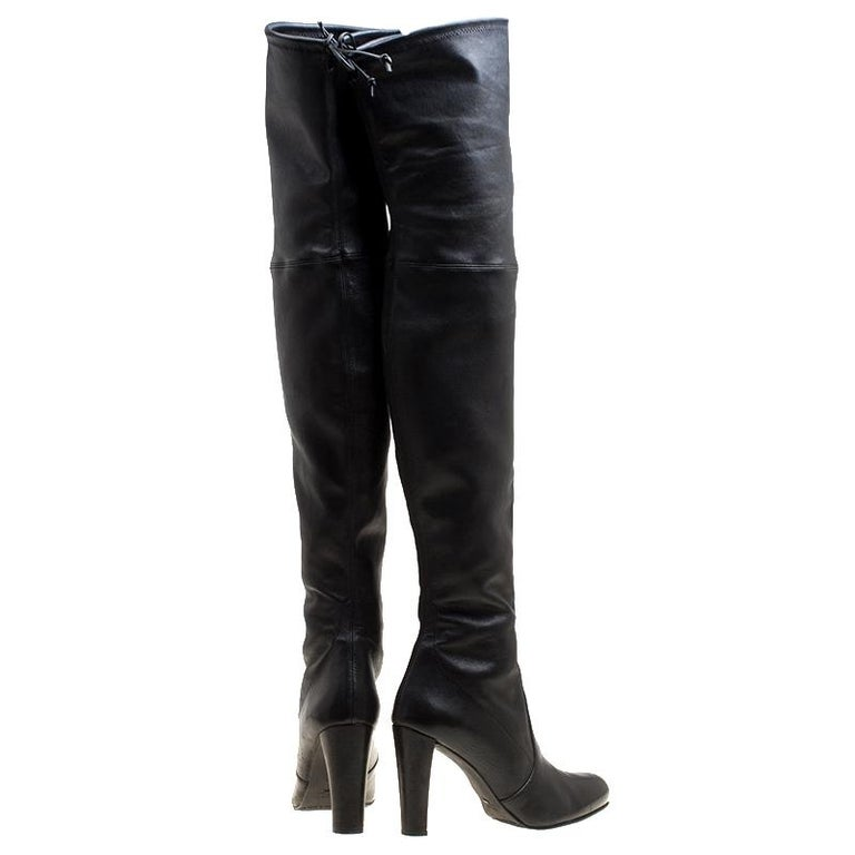 3021799fce5a Stuart Weitzman Black Leather Highland Thigh High Boots Size 41.5 In Good  Condition For Sale In