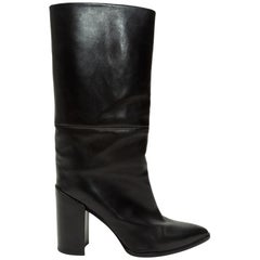 Stuart Weitzman Black Pointed-Toe Leather Boots