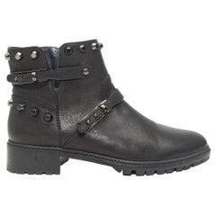 Stuart Weitzman Black Studded Moto Ankle Boots