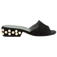 Stuart Weitzman Black Suede Faux Pearl-Embellished Slides