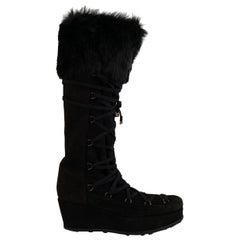 Stuart Weitzman Black Suede Lace Up Wedge Boots Size 39.5