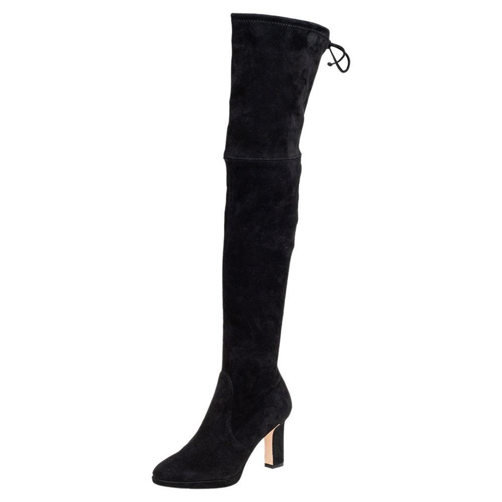 Stuart Weitzman Black Suede Ledyland Over-The-Knee Boots Size 35.5