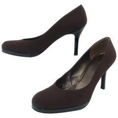 Stuart Weitzman Brown Silk & Black Patent Leather Platform Shoes Sz 8 1/2