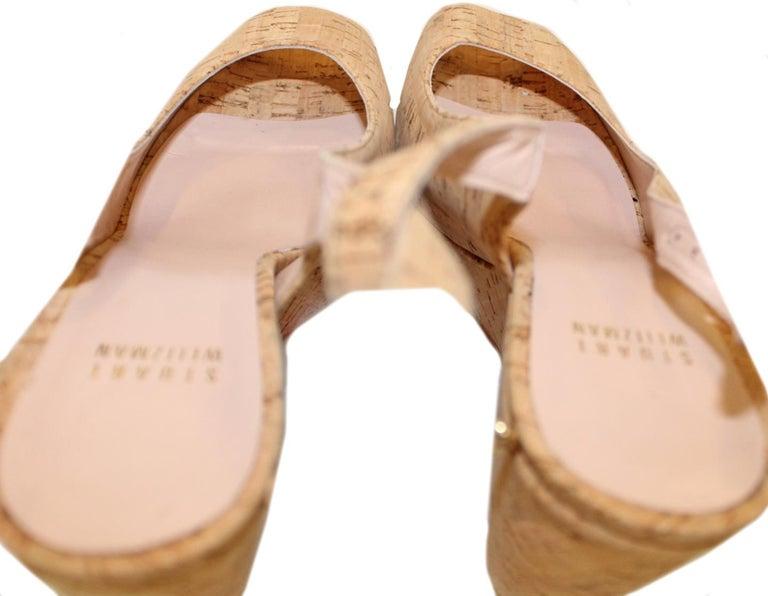 Stuart Weitzman Decoslinky Cork Wedge Shoes In Excellent Condition For Sale In Palm Beach, FL