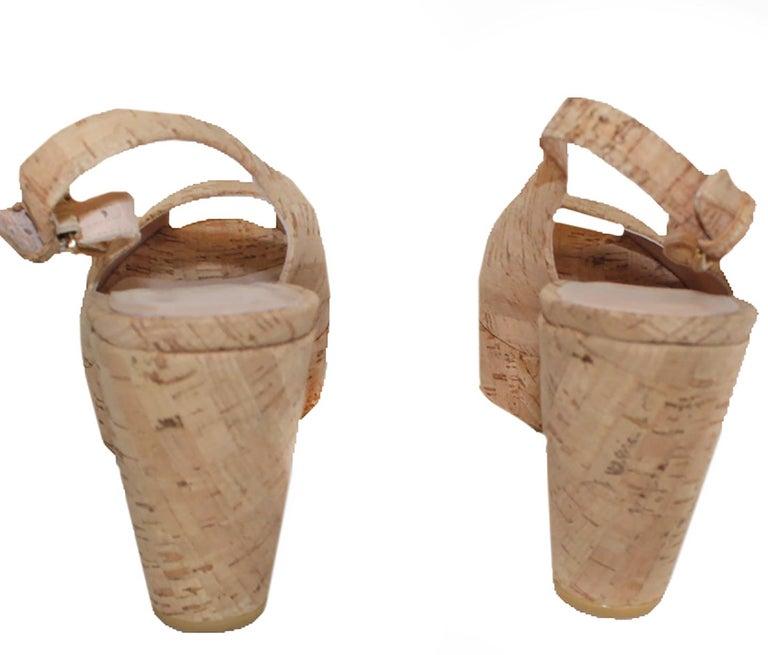 Stuart Weitzman Decoslinky Cork Wedge Shoes For Sale 1