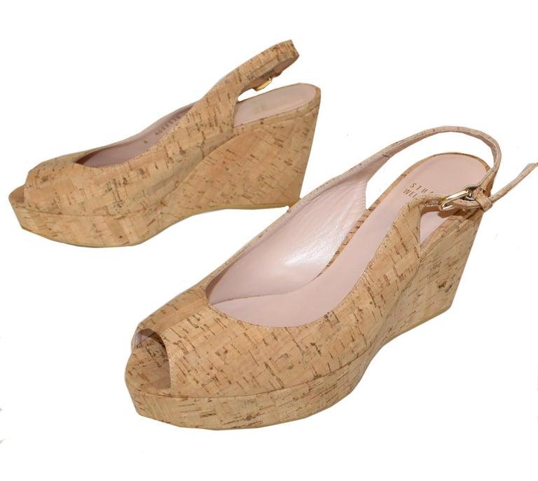 Stuart Weitzman Decoslinky Cork Wedge Shoes For Sale 2