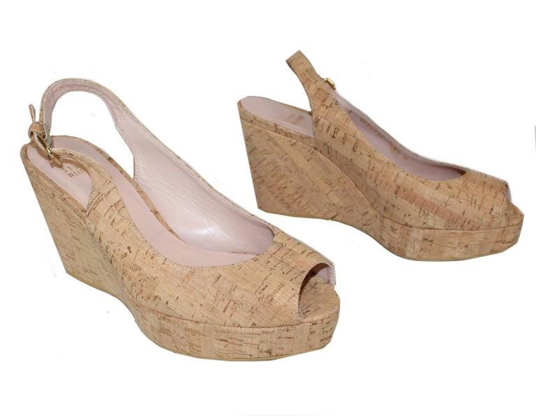 Stuart Weitzman Decoslinky Cork Wedge Shoes For Sale 3