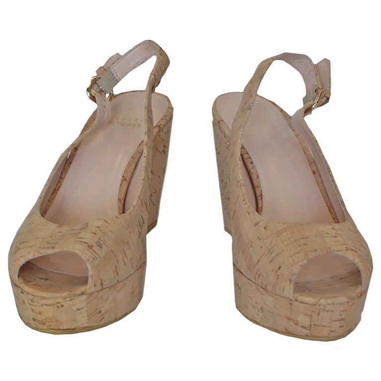 Stuart Weitzman Decoslinky Cork Wedge Shoes For Sale