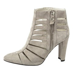 Stuart Weitzman Grey Suede Caged Ankle Boots Size 36