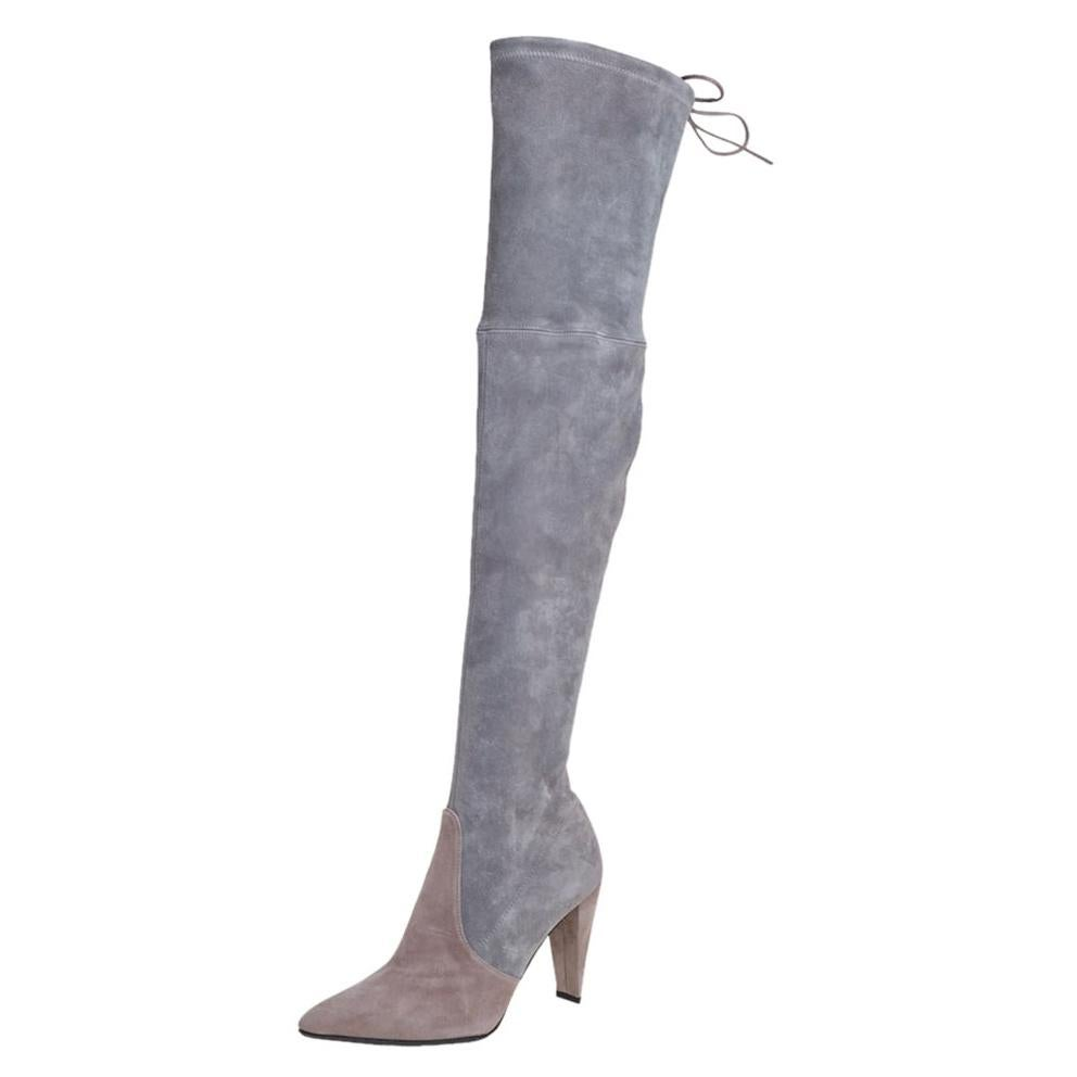 Stuart Weitzman Grey Suede Highland Over The Knee Boots Size 37.5