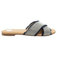 Stuart Weitzman Navy & Silver-Tone Slide Sandals