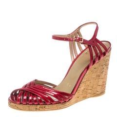 Stuart Weitzman Red Patent Leather Cork Wedge Ankle Strap Platform Sandals Size
