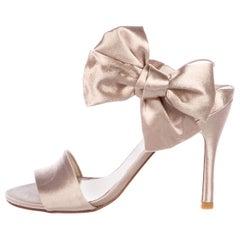 Stuart Weitzman Satin Bow Slingback Evening Sandals Heels Pumps