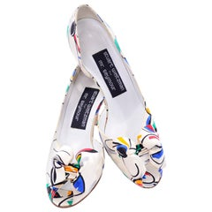 Stuart Weitzman Shoes Vintage Floral Print Fabric Peep-Toe Heels With Bow Size 7