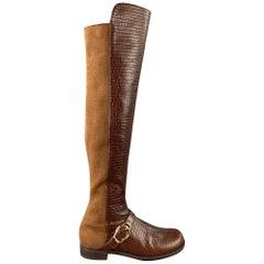 STUART WEITZMAN Size 9.5 Brown & Cognac Embossed Leather Boots