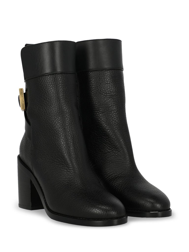 Ankle boots, leather, solid color, buckle fastening, gold-tone hardware, branded insole, branded sole, block heel, high heel, leather lining. Product Condition: Like New With Tag. Sole: negligible marks