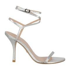 Stuart Weitzman Woman Sandals Silver Leather IT 37.5