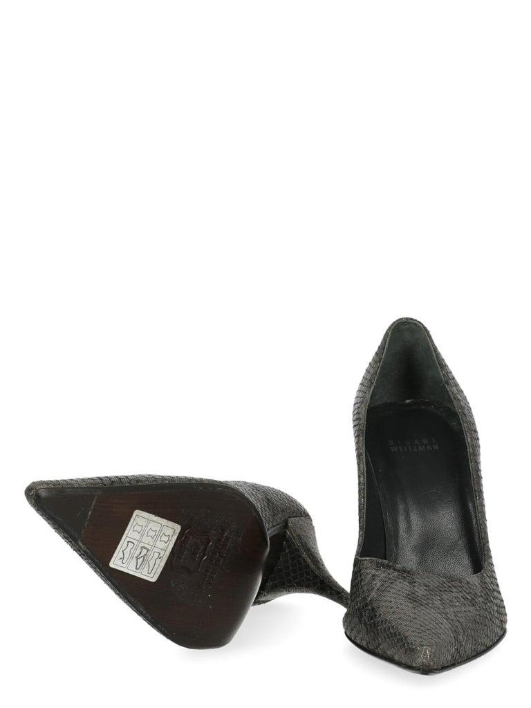 Stuart Weitzman Women Pumps Silver Leather EU 39 In Good Condition For Sale In Milan, IT