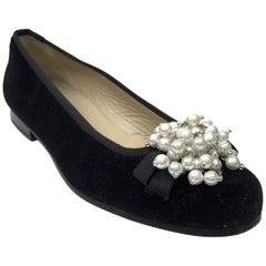Stubbs & Wooton Black Velvet Ballerina flats w/ pearl cluster-7