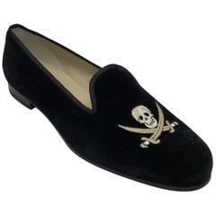 Stubbs & Wooton Black Velvet Loafers w/ Pirate Stitching-10