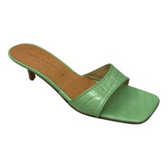 Stubbs & Wooton GREEN Faux Alligators Shoes-9.5
