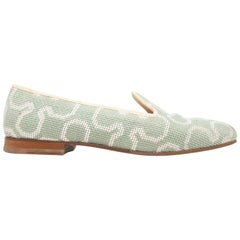 Stubbs & Wootton Sage & Beige Needlepoint Loafers