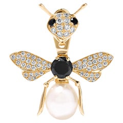 Stud and Ear Jacket Bee 18 Karat Yellow Gold and Black Diamonds