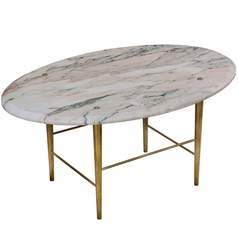 Stud Coffee Table by Lind & Almond in Rosso Marble and Polished Brass