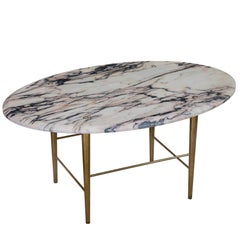 Stud Coffee Table by Lind and Almond in Vulcanatta Marble and Polished Brass