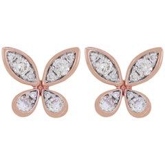 Stud Diamond Earring in 18 Karat Rose Gold
