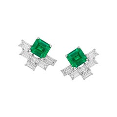 Stud Earring, Colombia Emerald Jacket Earrings