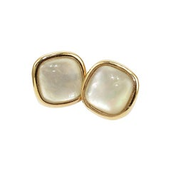 Stud Earrings in 18 Karat Gold and Champagne Citrine