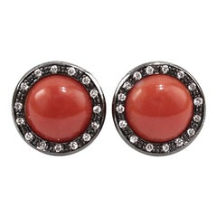 Stud Earrings in 18 Karat Gold, Coral and Ice Diamonds
