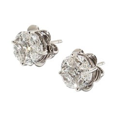 Stud Earrings with Diamonds, 750 White Gold