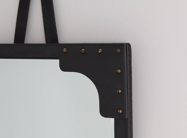 French Studded Black Leather Jacques Adnet Mirror For Sale