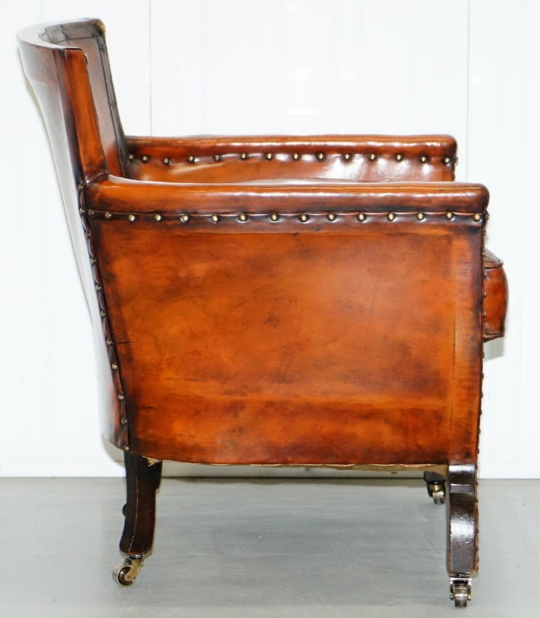Studded Edwardian Restored Whisky Brown Leather Tub Club Suite Sofa & Armchairs For Sale 4